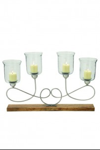 "Metal and Wood Glass Candle Holder 34""W, 22'H [201398]"