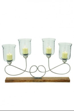 """Metal and Wood Glass Candle Holder 34""""W, 22'H [201398]"""