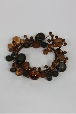 """Beaded Ring, Amber, Smoke, Frosted 4"""" [220115]"""