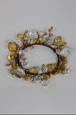 """Beaded Ring, Clear, Amber 3.5"""" [220117]"""