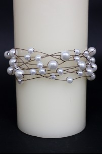 White, Pearl Wrap Brown Wire 28 ft [220145]