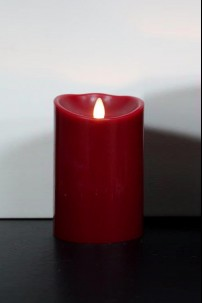 "LUMINARA FLAMELESS CANDLE - RED WAX - 3.5""DIA x 5""H BATTERY OPERATED WITH TIMER AND STANDARD PACKAGING [312457]"