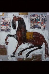"47"" x 35"" ABSTRACT HORSE CANVAS ARTWORK  [373157]"