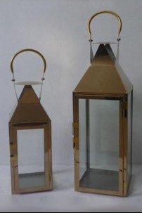 "Bronze Metal Lanterns Tall (Set of 2) Height 39"", 52"" [375151]"