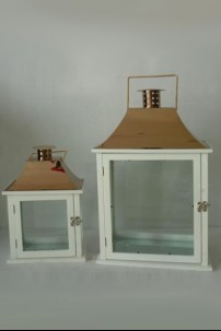 "Copper-White Lanterns (Set of 2) Height: 33"", 48"" [375153]"