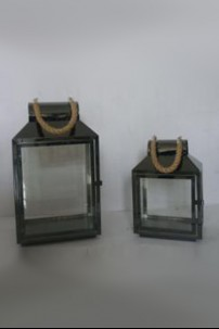 "Pewter Lanterns with Rope Handle (Set of 2) Height: 28.5"", 39.5"" [375154]"