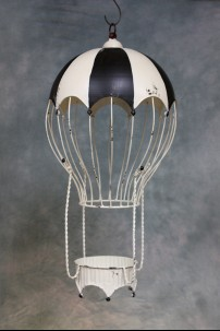 Decorative Metal Hot Air Balloon (Black and White Rio) [382103]