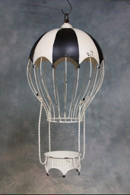 Decorative Metal Hot Air Balloon (Black and White Rio) [382103]
