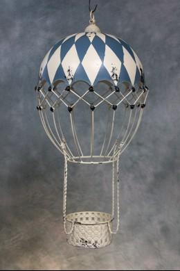 Decorative Metal Hot Air Balloon (Blue and White Boardwalk) [382104]