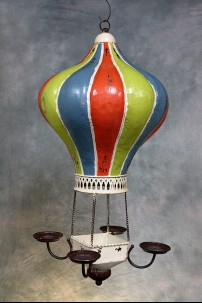 Decorative Metal Hot Air Balloon (Multicolor Mardi Gras) [382105]