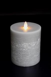 """Moving Flame 4"""" x 5"""", Platinum, Flat Top Pillar [384280]"""