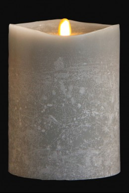 "4"" x 5"" Matrix Pillar Candle, Platinum, Chalk Finish, Unscented, Timer, Remote Ready [384327]"