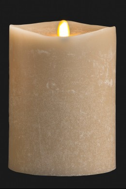 "4"" x 5"" Matrix Pillar Candle, Oatmeal, Chalk Finish, Unscented, Timer, Remote Ready [384329]"
