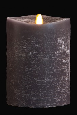 "4"" x 5"" Matrix Pillar Candle, Graphite, Chalk Finish, Unscented, Timer, Remote Ready [384331]"