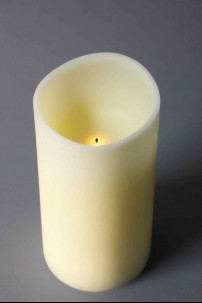 "4"" x 8"" Pushwick Pillar Candle, Ivory, Frosted Finish, Timer, Remote Ready, 2AA [384340]"