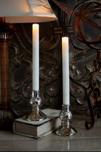 """.84"""" x 10"""" 2 Pack Pushwick Taper Candles, Ivory, Wax Dipped, Remote Ready, 2AA [384341]"""