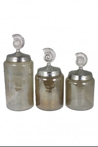 Brown Luster Hammered Glass with Shell Lid (3 Piece Set) [393101]