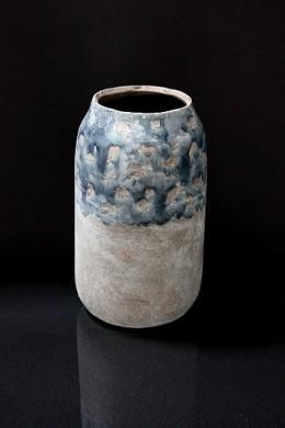 """Medium Ceramic  Vase with Marbleized  Design and Distressed Finish 5.00""""x5.00""""x8.25""""H (479345)"""