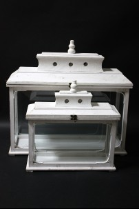 "White Wooden Lanterns (Set of 2) Height: 20"", 24"" [901266]"