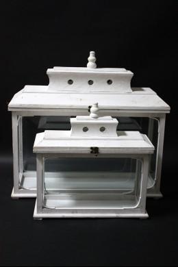 "White Wooden Lanterns (Set of 2) Height: 20"", 24"" [901266]"