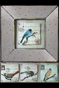 Multi-Colored Avian Prints with Frame 901284