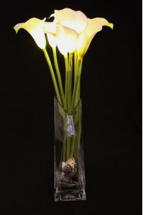 Calla Lily White 8 Light - Battery Operated [CLWT8-B]