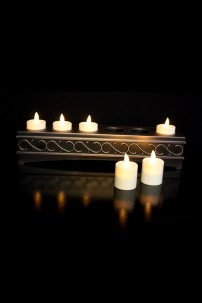 LUMINARA FLAMELESS RECHARGEABLE VOTIVE CANDLES 6CT WITH DECORATIVE CHARGING STATION, NOT REMOTE CAPABLE [CNDV6]