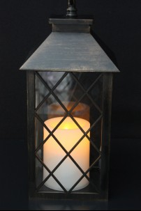 "Colonial Lantern, Antique Black Finish, with LED Candle, Height 11"" [LANCOLANBL]"