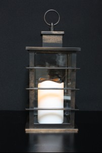 "Mission Lantern, Antique Black Finish, with LED Candle, Height 10"" [LANMISANBL]"