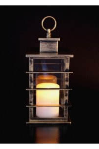 "Mission Lantern, Bronze Finish, with LED Candle, Height 10""  [LANMISBRNZ]"