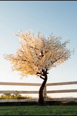 2120 Light 9' White Leaf Tree, Warm White LEDs, Black Trunk [TREMAP2120-BL]