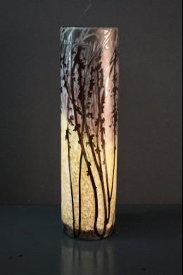 Etched Branch Cylinder Vase 16 Inch [V1300]