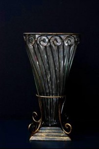 METAL AND GLASS VASE 13 INCH [V7106]