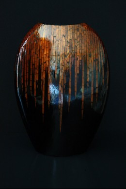 Bronze Inlay Vase 15 Inch [V9035]