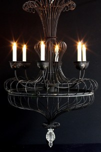 "26""W x 45""H BLACK METAL CHANDELIER (901259)"