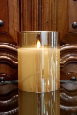 "RADIANCE POURED CANDLE 6x7.8"" CHAMPAGNE (478247) REMOTE CAPABLE"
